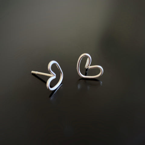 sterling silver heart post earrings in sterling silver