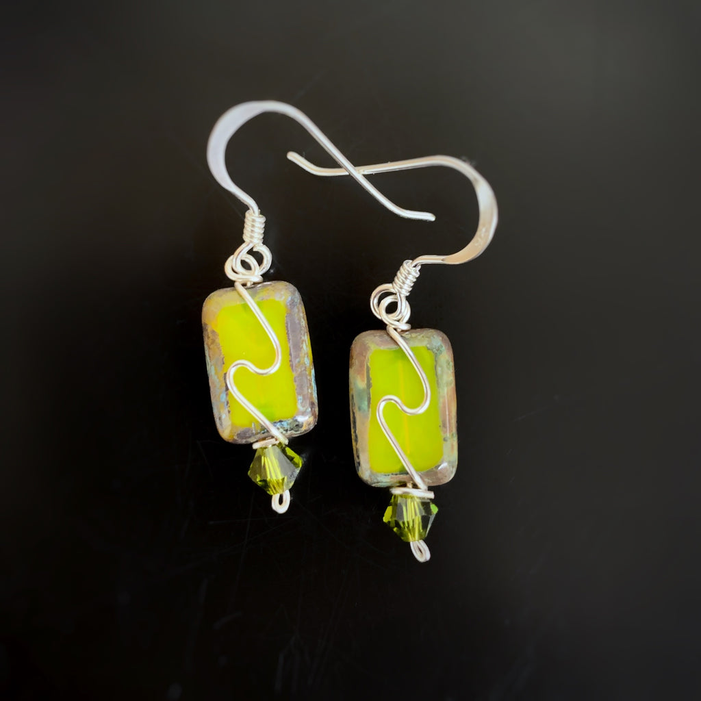 spring green rectangles with silver swirl, handmade earrings