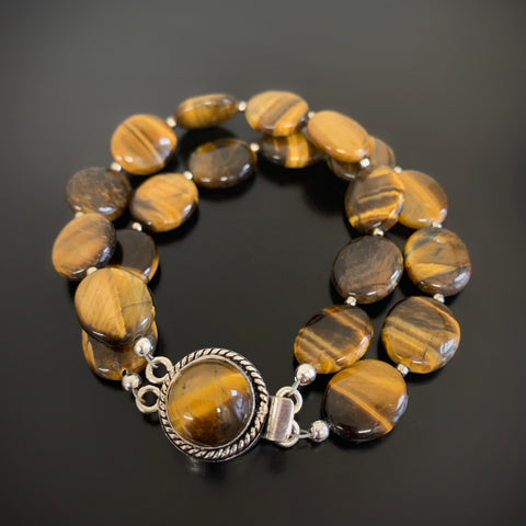 double strand tiger's eye bracelet with fancy clasp