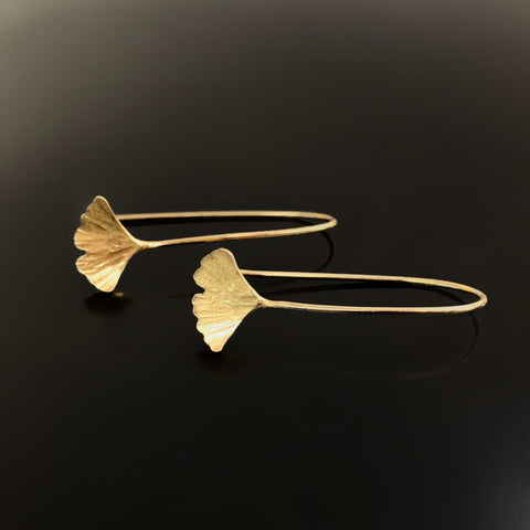 Small Ginkgo Drop Earrings in Gold filled and brass