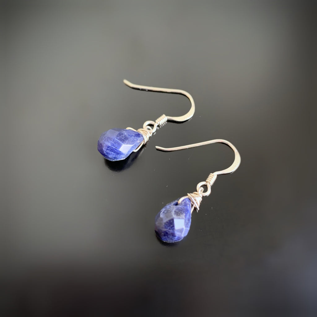 blue sodalite teardrop earrings on silver
