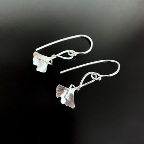Small Ginkgo Earrings with Tendril in Sterling Silver