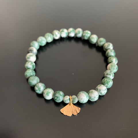 green tree agate stretch bracelet with gold brass ginkgo leaf charm