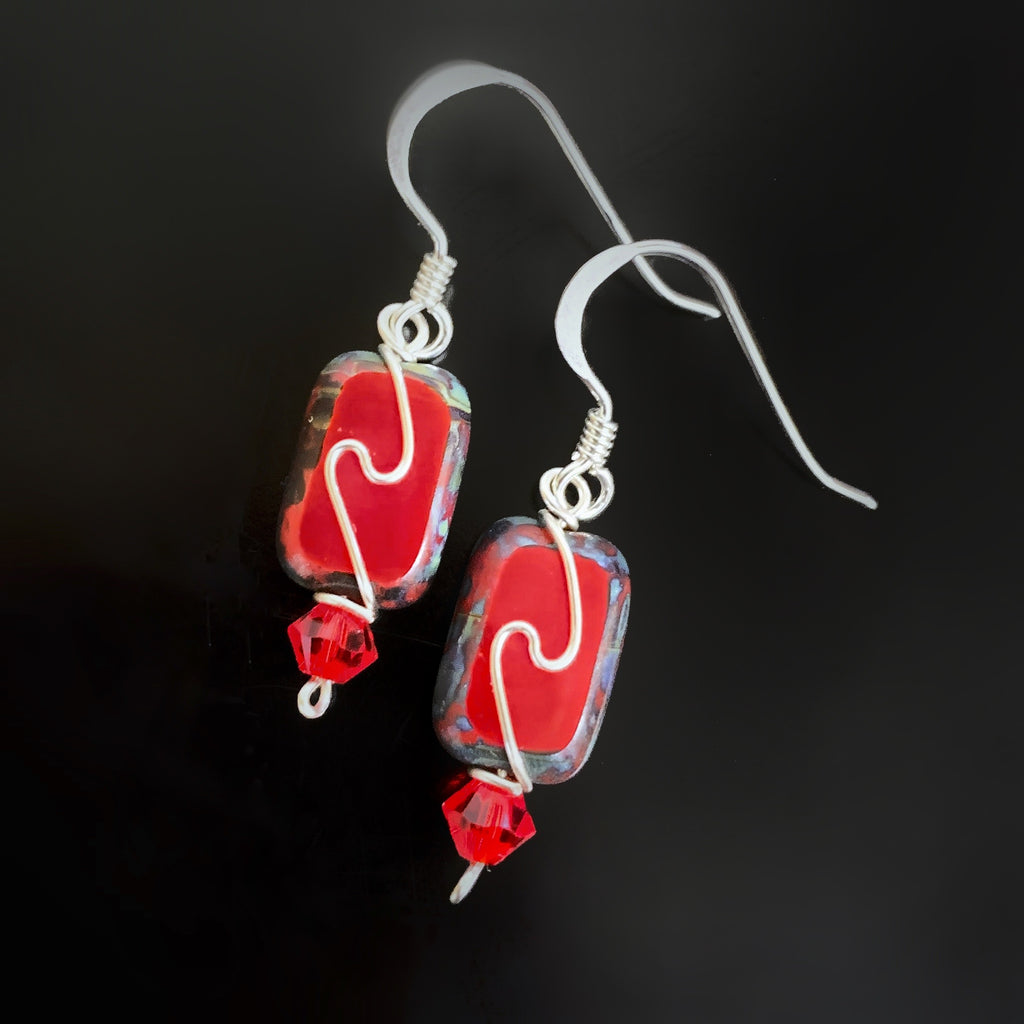 handmade in USA, opaque red with silver swirl rectangle earrings