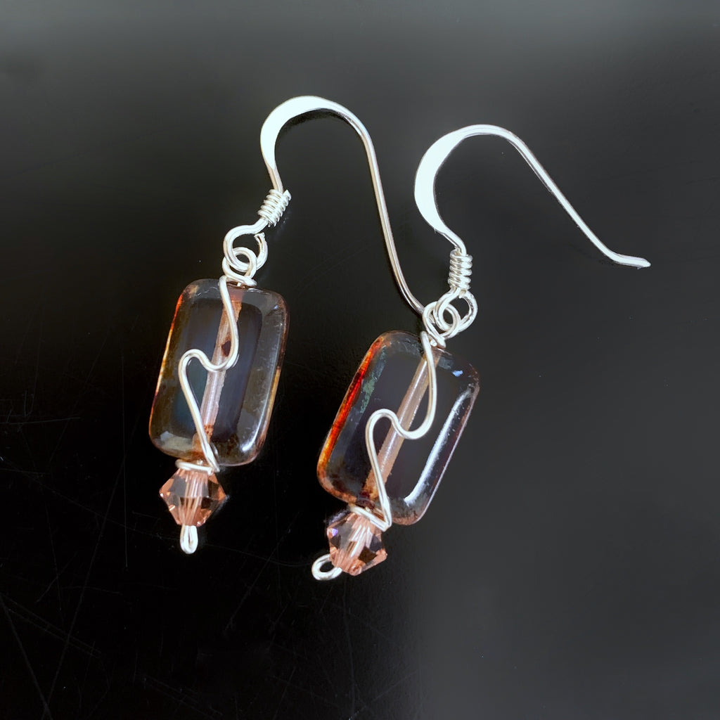 recyangle earrings in warm earth tones and a silver swirl.  hand made in USA