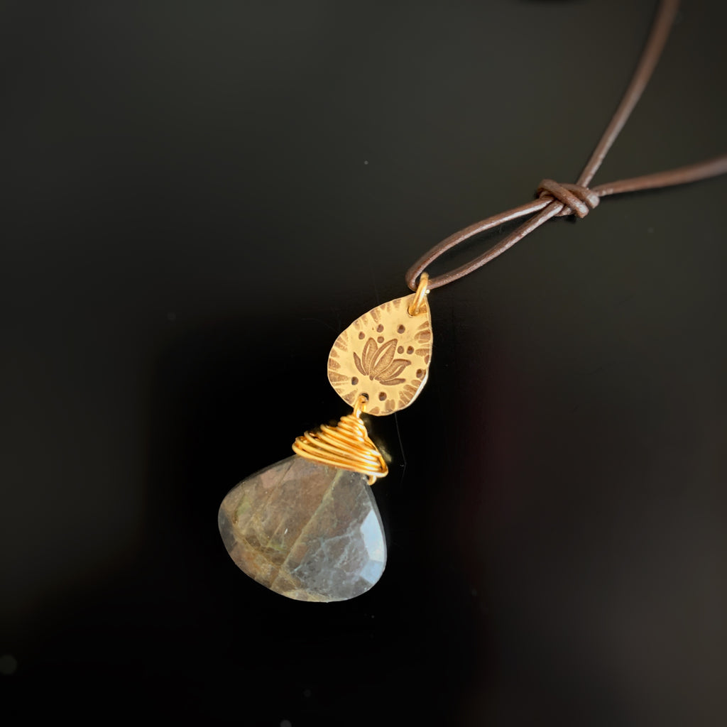 lotus flower gold teardrop with labradorite
