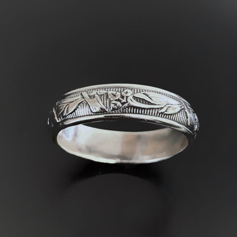 Sterling Silver Art Nouveau Flower Patterned Band Ring