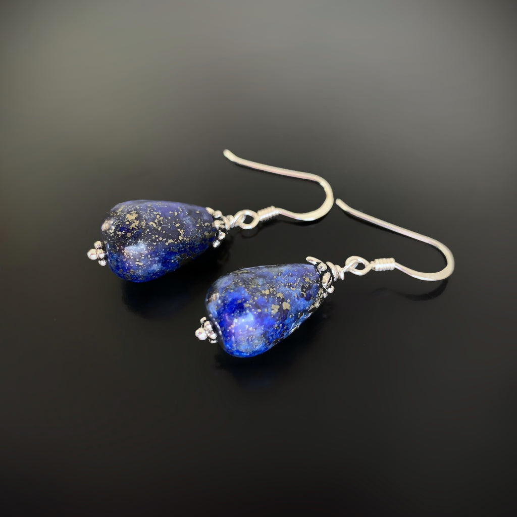 blue lapis lazuli teardrop earrings woth silver ear hooks