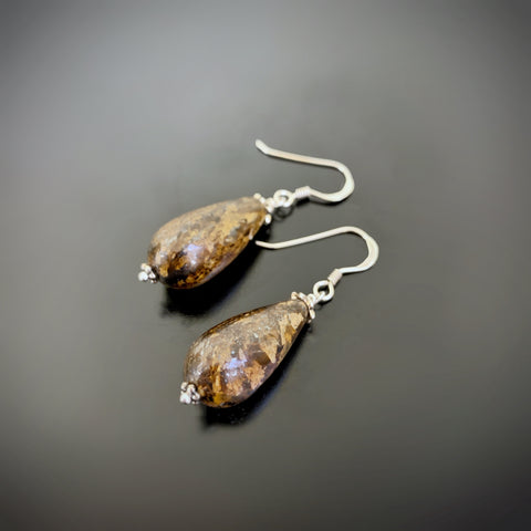 bronzite teardrop earrings