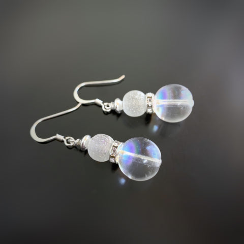 iridescent bubble glass earrings with frosted glass and rhinestone accents
