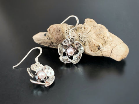 hand made sterling silver cherry blossom earrings.  made in USA