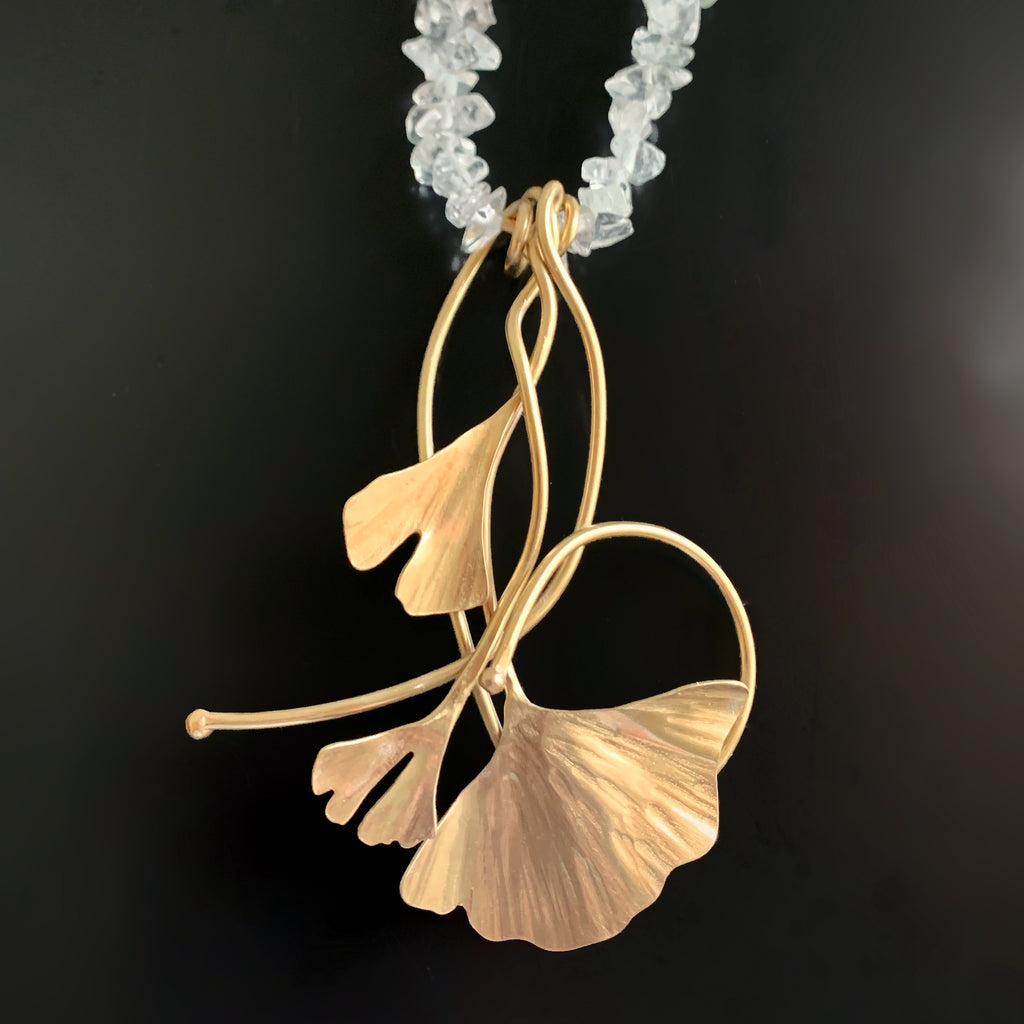 cluster of handmade gold brass ginkgo leaves on sculptural pendant