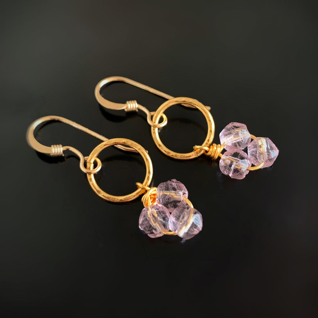 loght purple glass cluster on circle gold earrings