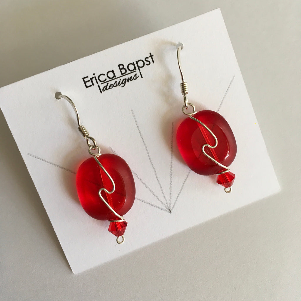red oval swirl earrings handmade in USA
