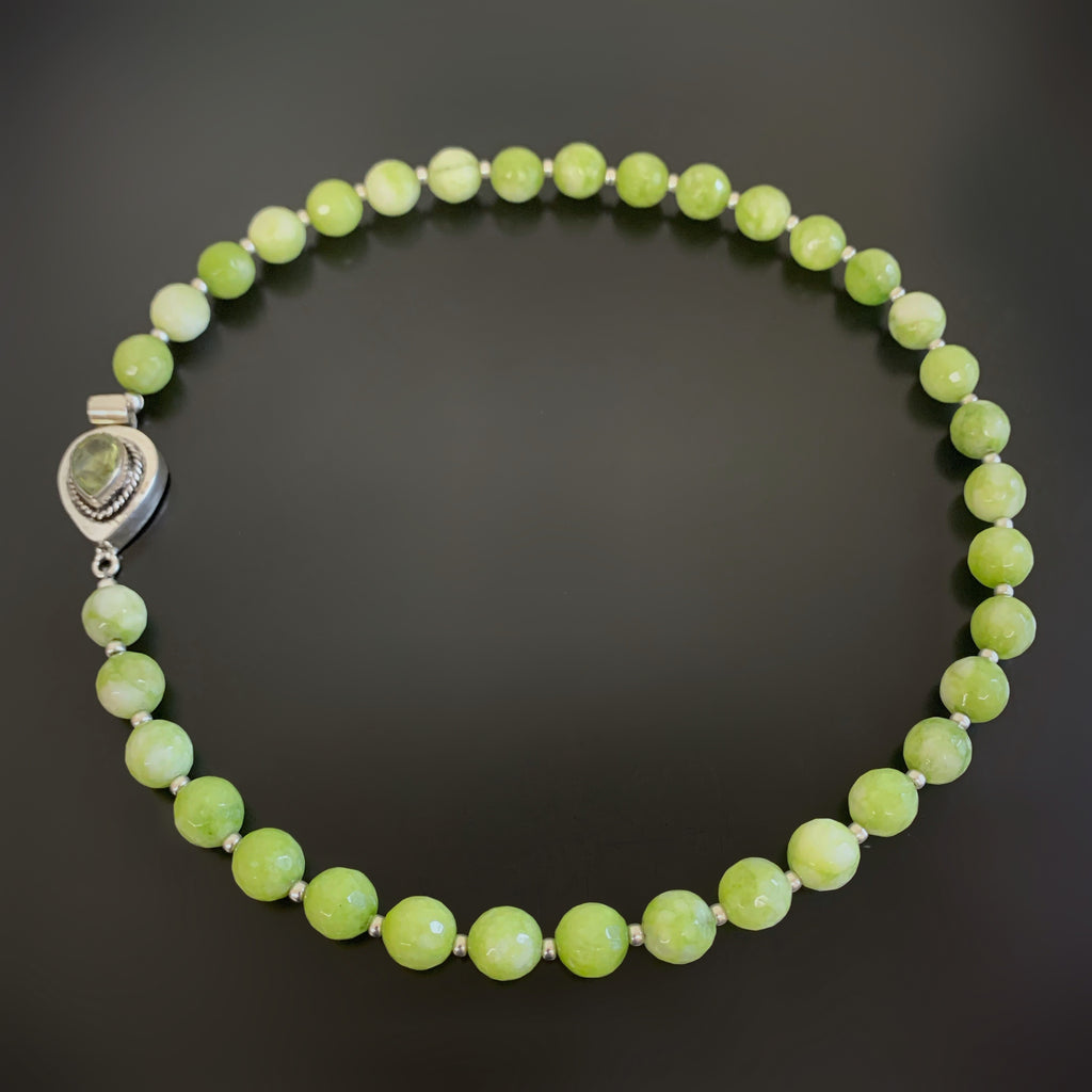 faceted green agate beads with ornate peridot teardrop clasp