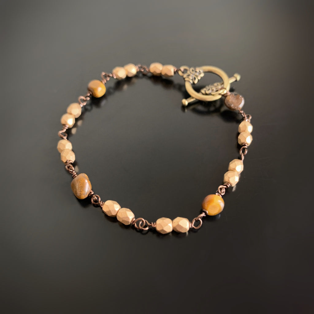 matte gold czech glass and tiger eye stones in handmade link bracelet