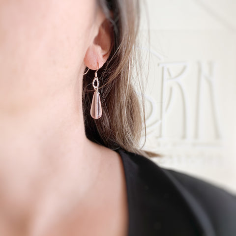 pink glass teardrop earrings with sterling silver ear wires and twisted loop