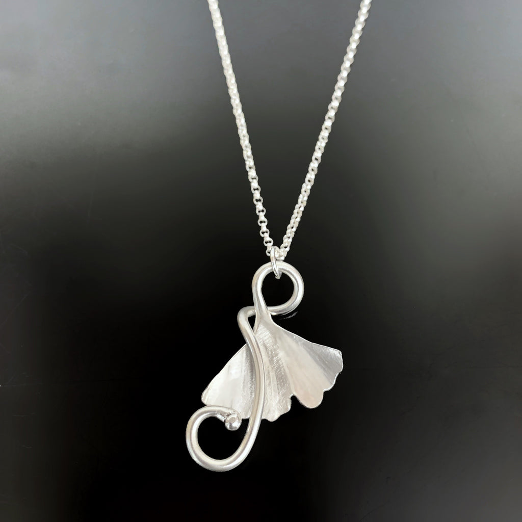 Ginkgo Pendant with Tendril in Sterling Silver