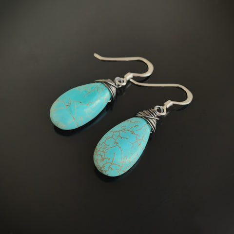 handmade earrings turquoise teardrops