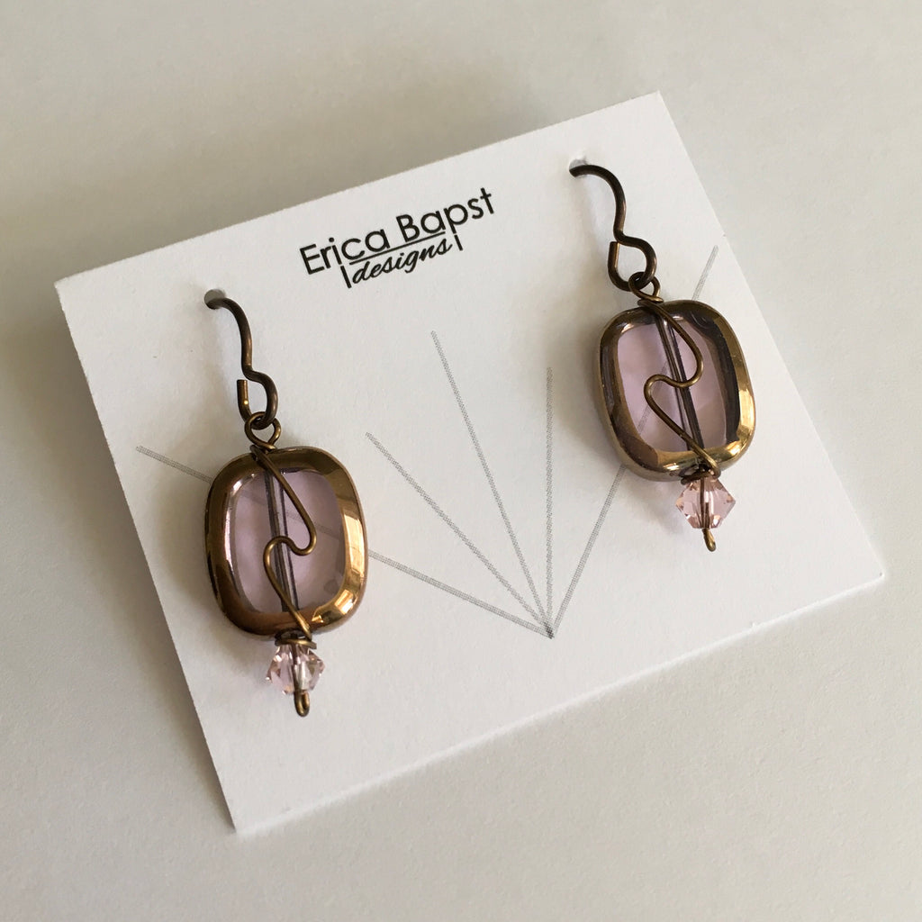 lilac oval swirl earrings by Erica Bapst