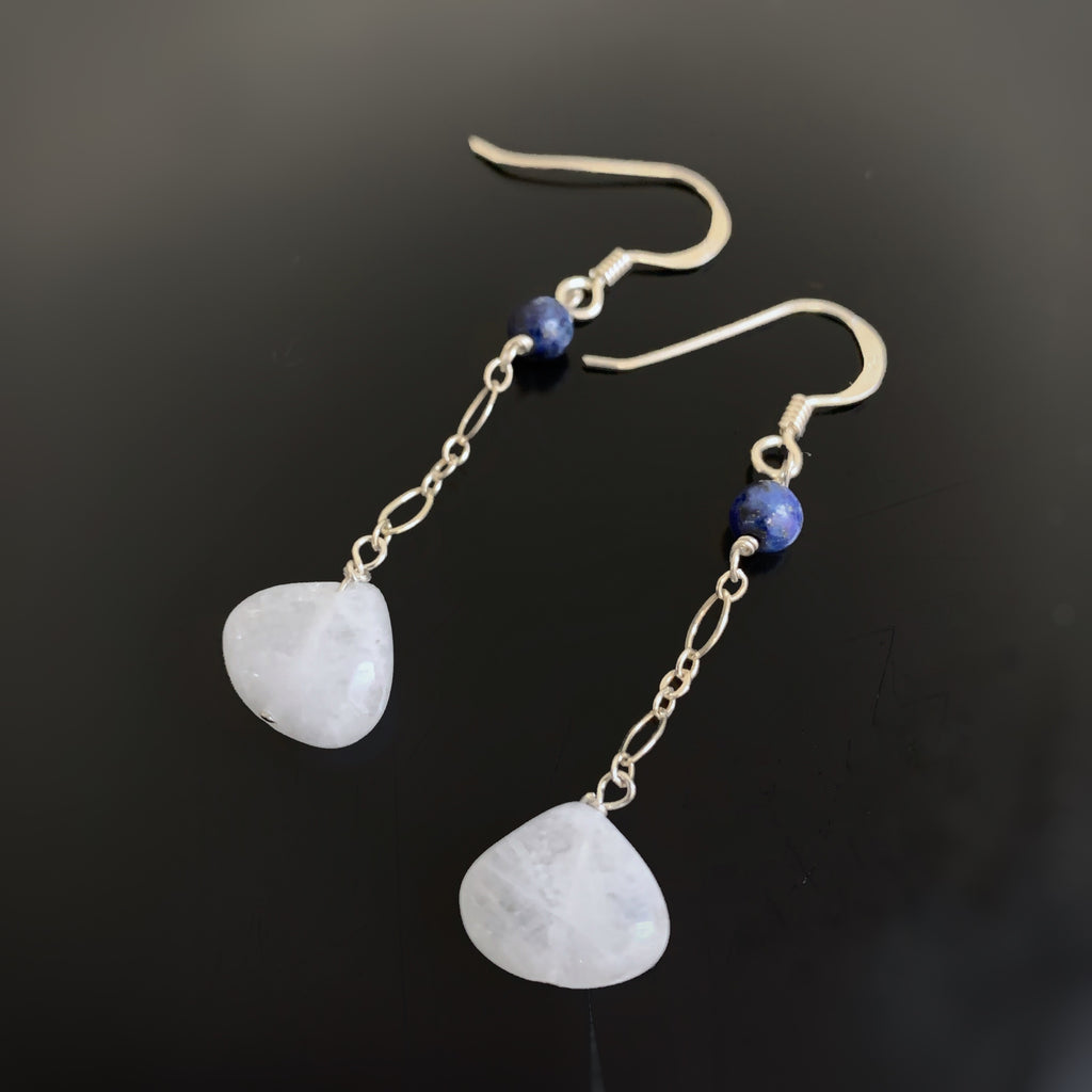 Moonstone, Lapis Sterling Silver Earrings