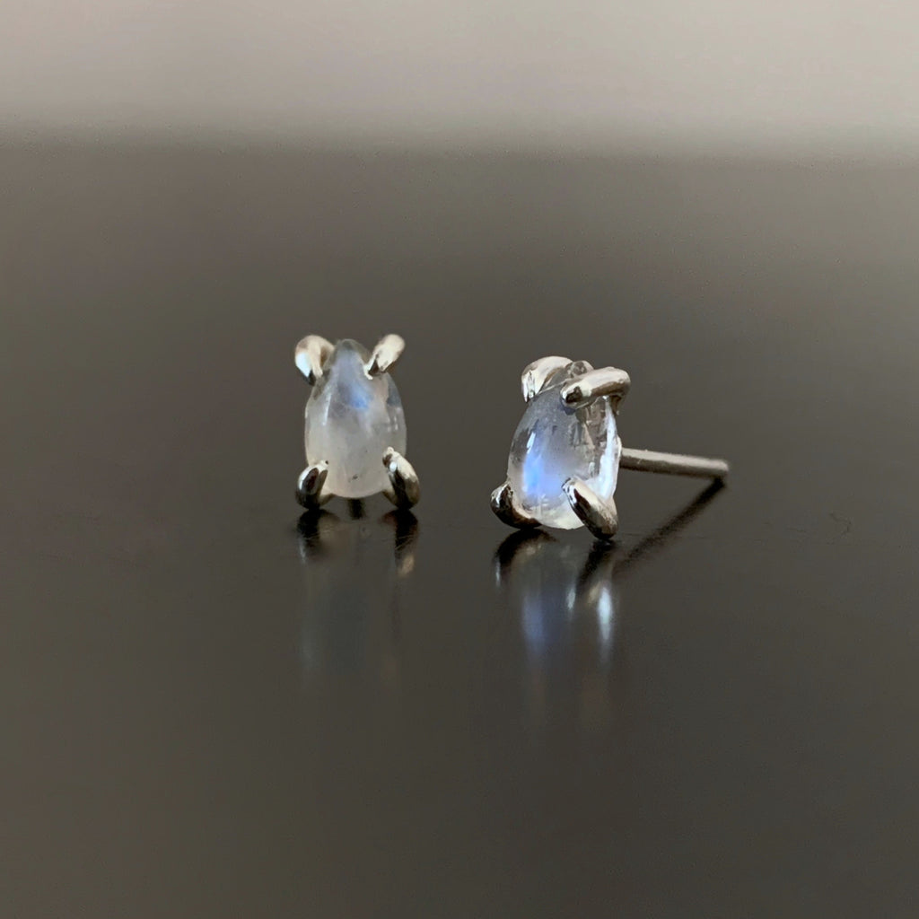 Moonstone Teardrop Stud Earrings in Sterling Silver