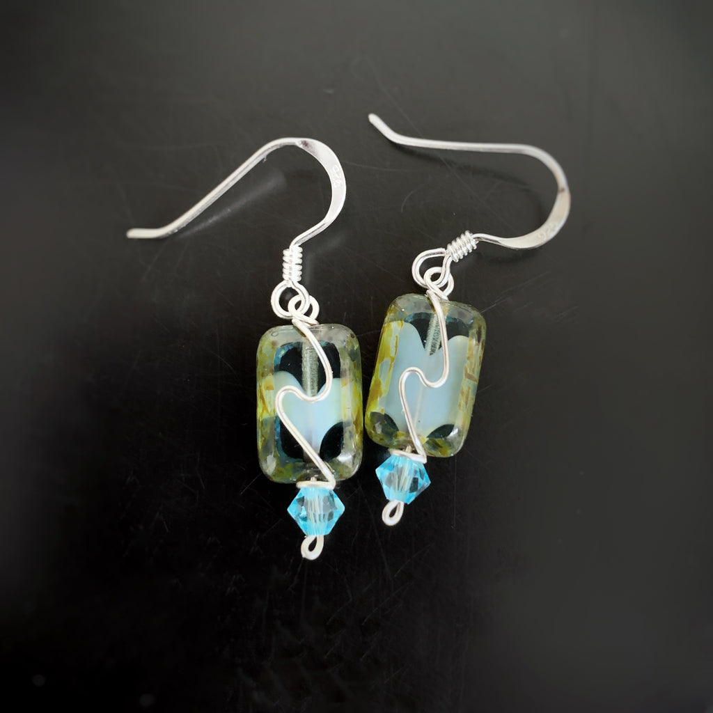 aqua swirl earrings, hand made in USA