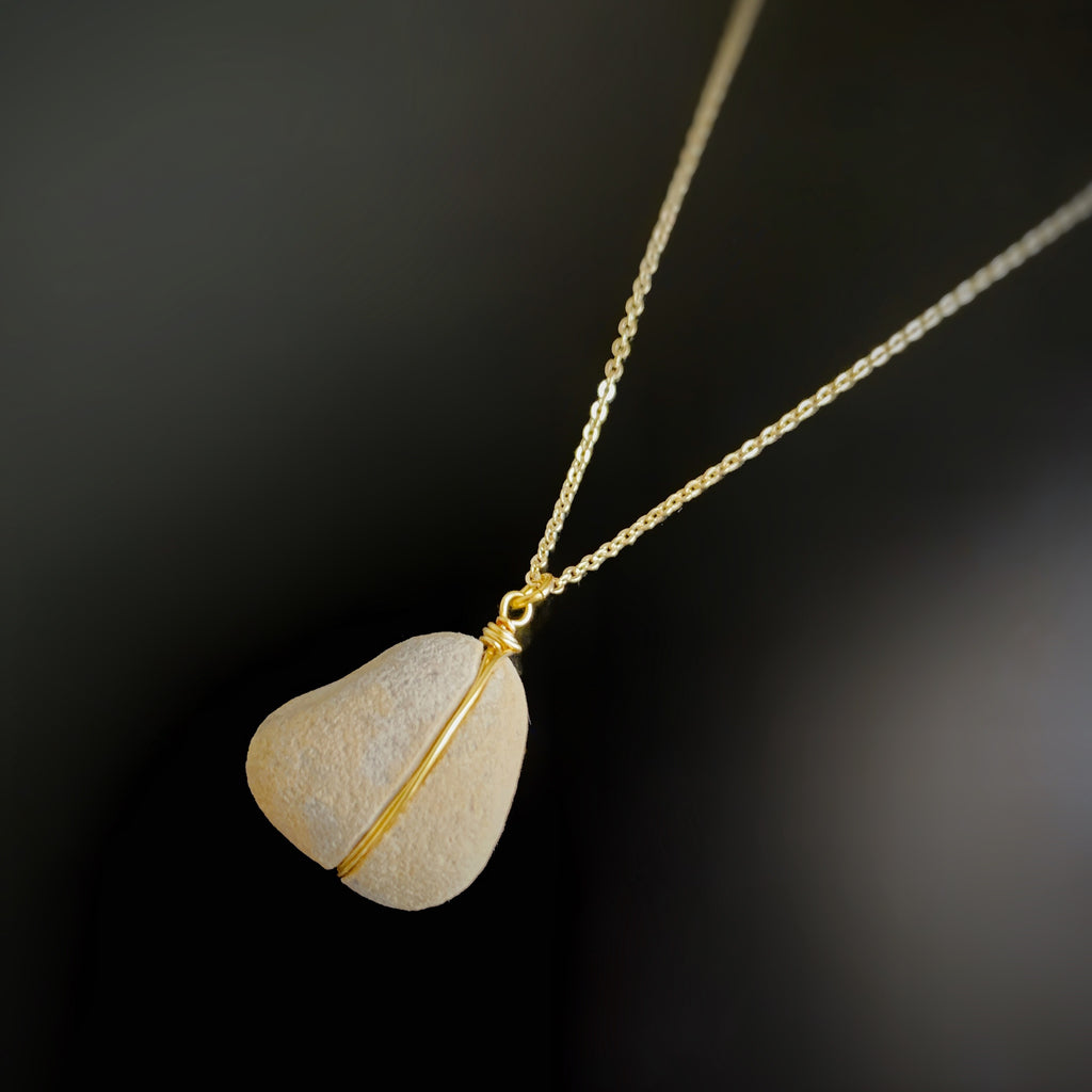 gold plated pebble necklace, Canandaigua Lake Jewelry