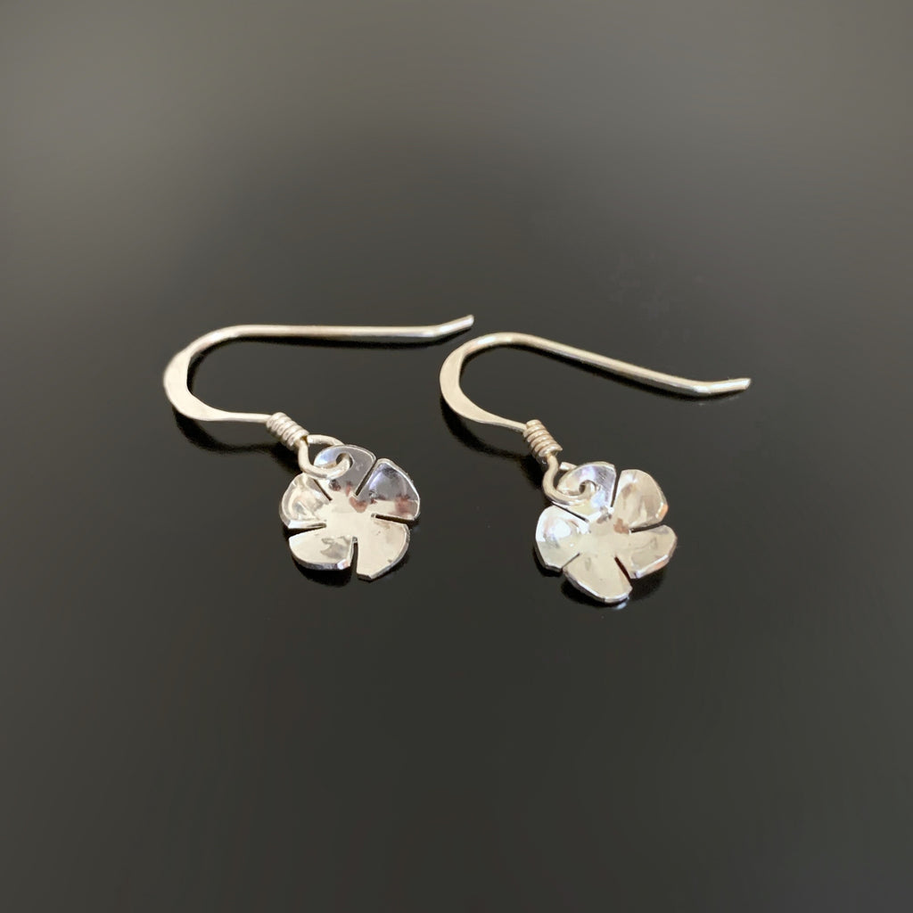 handmade sterling silver flower drop earrings