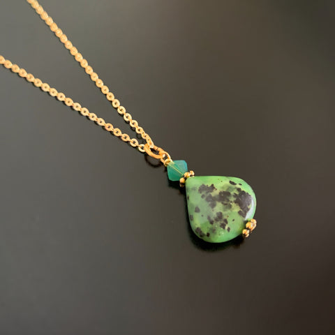 green chrysophrase teardrop pendant with crystal accent on gold plated chain