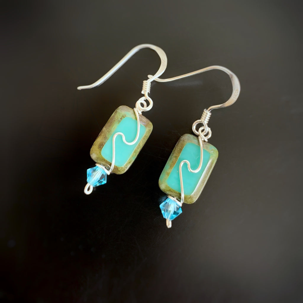 turquoise color rectangle glass earrings with swirl mofif