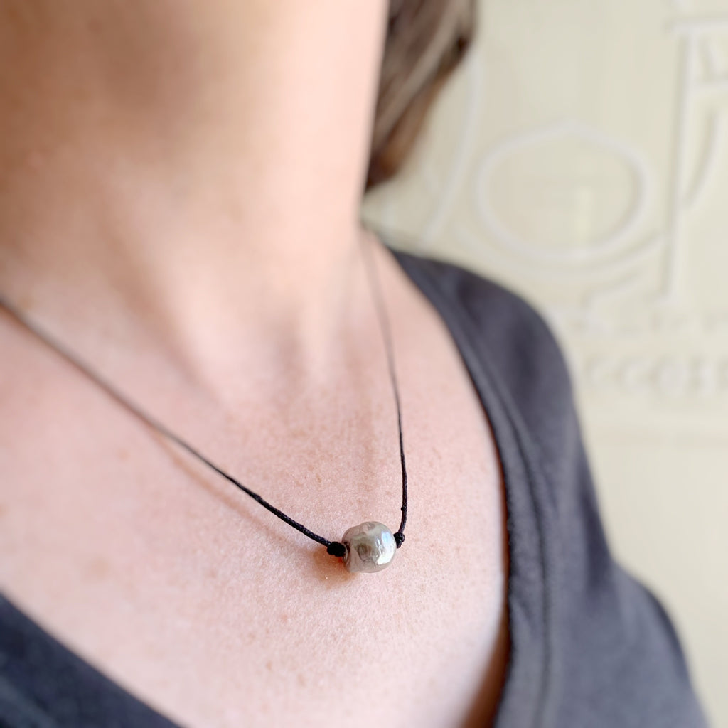 silver gray freshwater pearl on black cord necklace