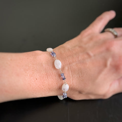 large moonstone ovals and iolite bracelet