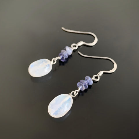 moonstone oval and iolite sterling silver earrings