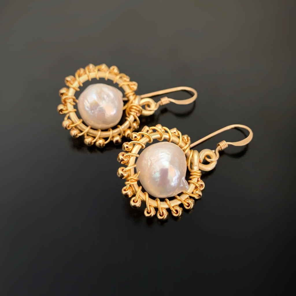 gold beaded circle earrings with white freshwater pearls