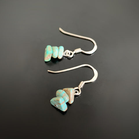 turquoise chip drop earrings in silver