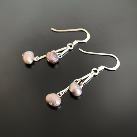 warm grey double drop sterling silver and freshwater pearl earrings