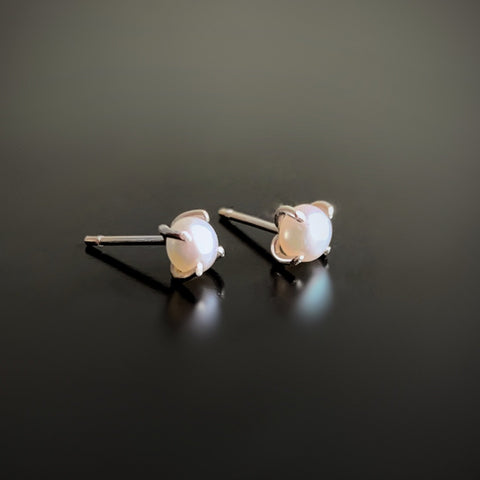 white freshwater pearl post earrings in sterling silver