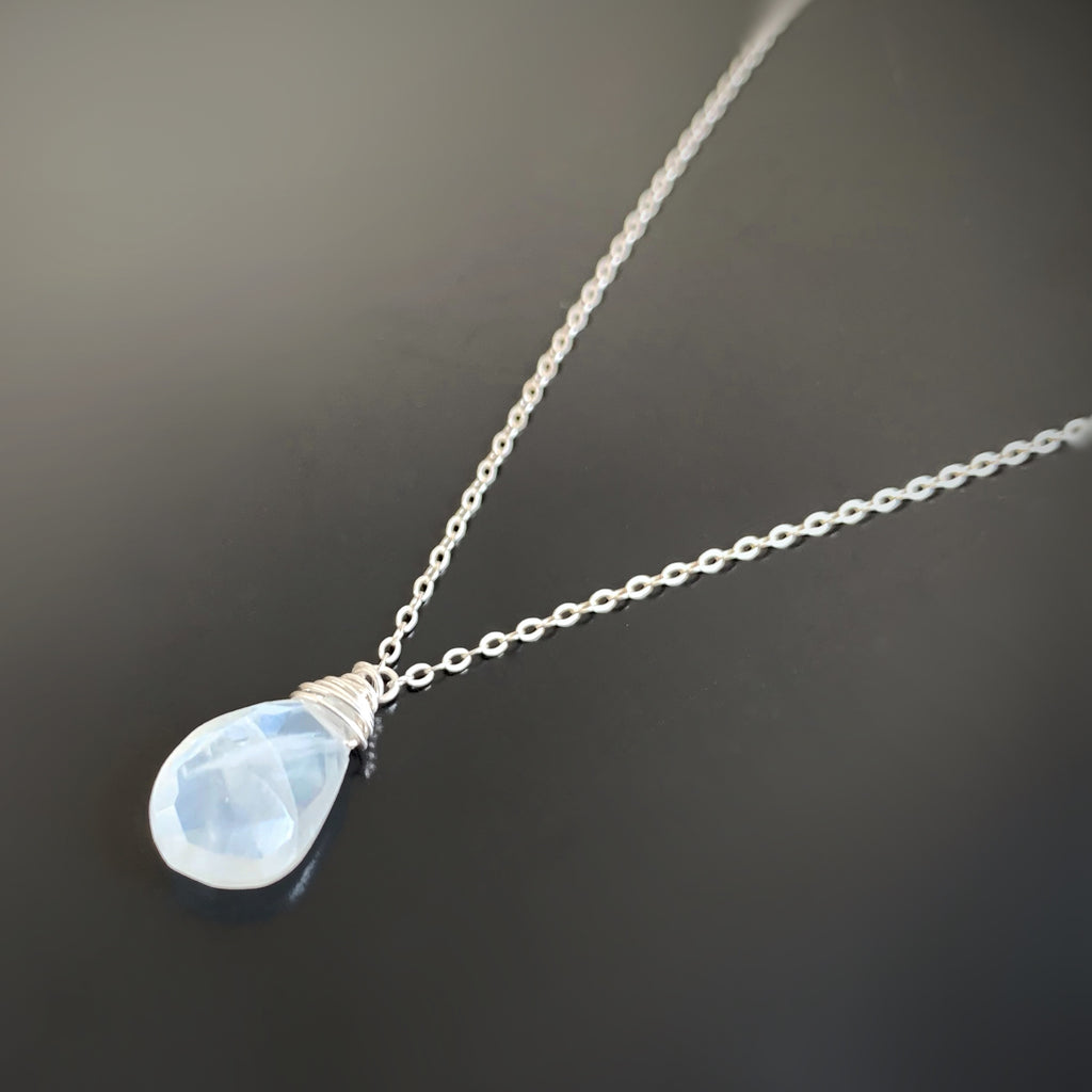 white moonstone faceted teardrop pedant necklace on sterling silver chain