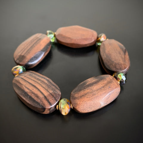 green glass and wood nugget stretch bracelet