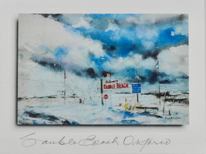 The Sauble Beach Sign in Winter - 4 Pack