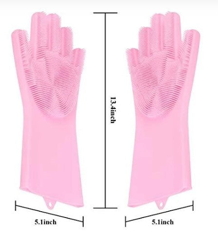 Trends Villa™ Reusable Silicone Cleaning Scrubber Multicolor Gloves - Trends Villa