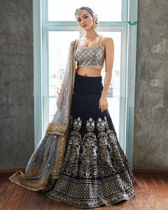 Trends Villa™ WEAR BEUTIQUE DESIGNERS VELVET EMBROIDERY LEHENGA CHOLI SET - Trends Villa