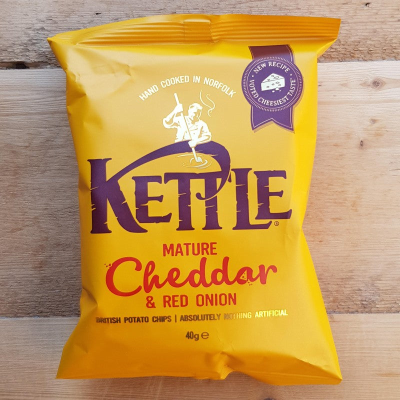 Kettle Crisps Mature Cheddar & Red Onion 40g