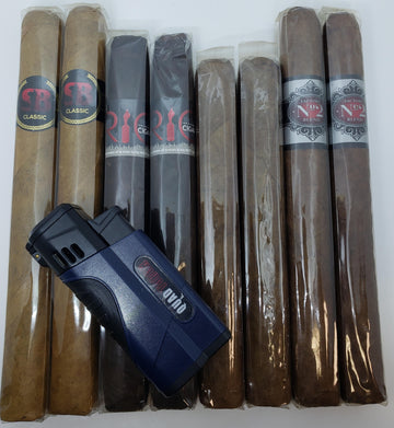 Cigar Sampler & Quad Flame Torch Lighter Combo