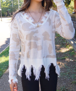 Rachel Leopard Distressed Sweater freeshipping - Belle Isabella Boutique