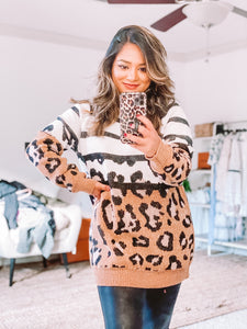 Leopard and Striped Sweater