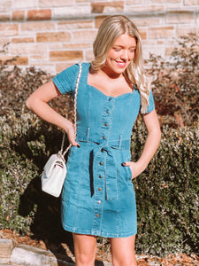 Girlfriend Medium Wash Denim Dress