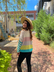 Bright and Happy Color block Knit Sweater freeshipping - Belle Isabella Boutique