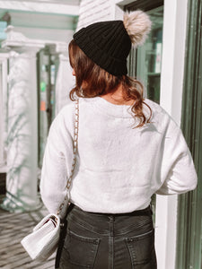 Cloud White  Cropped Sweater freeshipping - Belle Isabella Boutique